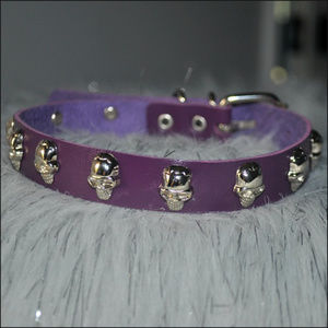 Purple Skull Studded Leather Choker